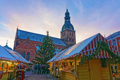 Group of unidentified people Christmas market at Dome square Royalty Free Stock Photos