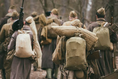 Group of unidentified re-enactors dressed as Russian Soviet sold Royalty Free Stock Photos