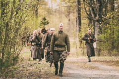 Group Of Unidentified Re-enactors Dressed As Soviet Russian Red Army Royalty Free Stock Images