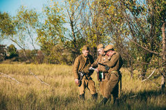 Group of unidentified re-enactors dressed as Stock Images