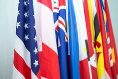 Group of United States and North American Asia Pacific flags. In Internationl meeting Royalty Free Stock Photo