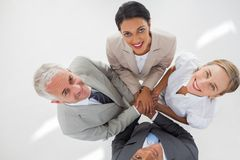Group of united teamwork gathering their hands together Stock Photo