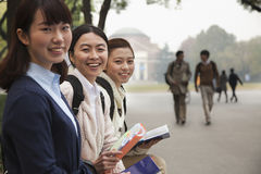 Group of University Students on Campus Royalty Free Stock Images