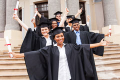 Group university students. Group of happy university students in front of university building Royalty Free Stock Photography