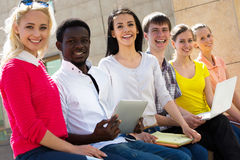 Group of university students studying Royalty Free Stock Photos