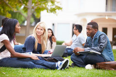 Group Of University Students Working Outside Together Stock Images