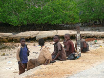 A group of unknown African boys communicate Stock Photo