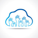 Group of up hands in the cloud Royalty Free Stock Photography