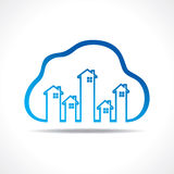 Group of up homes in the cloud Royalty Free Stock Photos