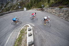 Group uphill road cycling - road bike uphill. Group uphill road cycling on stelvio pass Royalty Free Stock Images