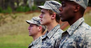 Group of us air force soldiers standing in line 4k. Group of us air force soldiers standing in line at boot camp 4k stock video