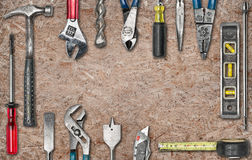 Group of used tools on wood. With space Stock Photography