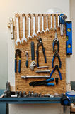 Group of used tools on wood deck, toolkit Stock Photo