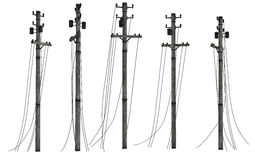 Group of utility poles. Realistic illustration of group of utility or telephone poles with cables seen from different angles, isolated on white background Royalty Free Stock Image