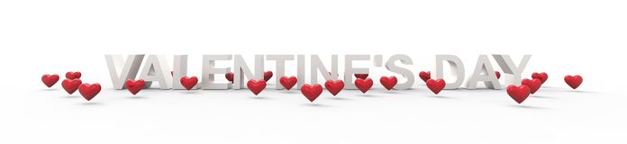 Group of Valentine Hearts on white background. 3D rendering vector illustration
