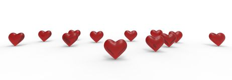 Group of Valentine Hearts on white background. royalty free illustration
