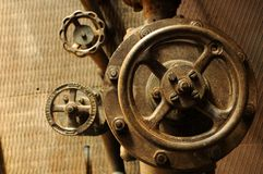 Group of valves. In old electric power plant Stock Images