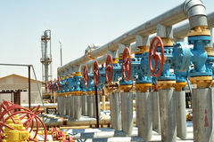 Group valves. Industrial valves, inlet gas from the wells to the plant for processing stock photo