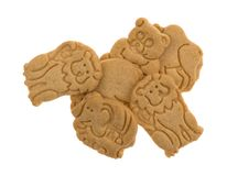 Group of vanilla animal cookies on a white background Royalty Free Stock Images