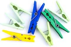 Group of various clothespins Stock Photos