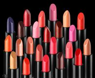 Group of various fashion lipsticks royalty free stock image