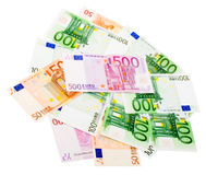 Group of Various Euro Banknotes Stock Photo