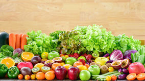 Group of various fresh fruits and vegetables for healthy. Arrangement different fresh fruits and vegetables royalty free stock image