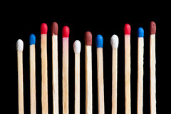 Group of various matches in line Stock Image