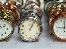 Group of various old alarm clocks Royalty Free Stock Photo