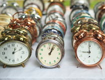 Group of various old alarm clocks Royalty Free Stock Image