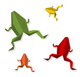 Group of various Origami frog Royalty Free Stock Photography