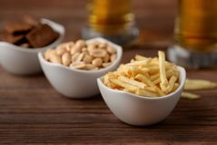 Group of various pub snacks Royalty Free Stock Photo