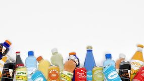 Group of various refreshments. Isolated on white Royalty Free Stock Photos