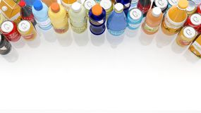 Group of various refreshments. On white Royalty Free Stock Image