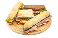 Group of various sandwiches Royalty Free Stock Photography