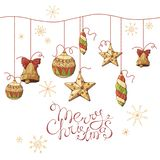 Christmas toys hanging on beads stock illustration