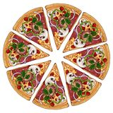 Pizza meat. Group of vector colorful illustrations on the pizza theme; pieces of meat pizza. Pictures contain realistic shadows and glare royalty free illustration
