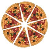Pizza pepperoni. Group of vector colorful illustrations on the pizza theme; pieces of pepperoni pizza. Pictures contain realistic shadows and glare vector illustration