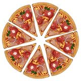 Pizza tomato. Group of vector colorful illustrations on the pizza theme; pieces of tomato pizza. Pictures contain realistic shadows and glare stock illustration