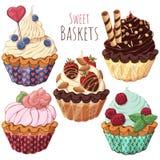 Sweet baskets royalty free illustration