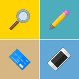 Group of vector symbols: phone, card Stock Images