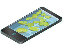 Group vector water lilies floating on water surface in mobile phone. Royalty Free Stock Photography