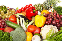 Group of vegetable and fruit. Isolated Stock Image