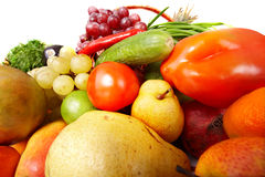 Group of vegetable and fruit. Isolated Stock Photography