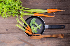 Group of vegetable. On wooden background Stock Images