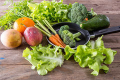 Group of vegetable. On wooden background Stock Image