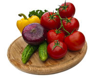 Group of vegetables on cutting board Royalty Free Stock Photo
