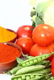 Group of Vegetables. Group different coloured vegetables and spices Royalty Free Stock Photos