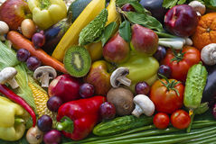 Group of vegetables and fruits Stock Images