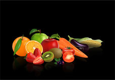 Group Vegetables and fruits. Isolated on black background, vector illustration Royalty Free Stock Photos